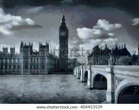 Big Ben - London watercolor illustration. UK.