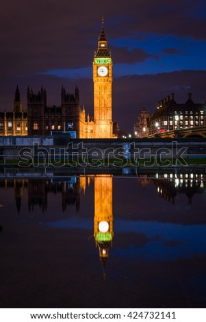 Big Ben reflections, London, UK - stock photo