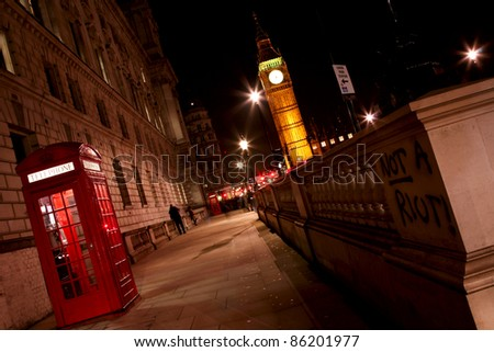 Big Ben seen from Parliament Square - stock photo