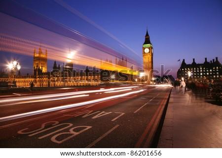 Big Ben seen from Westminster Bridge - stock photo