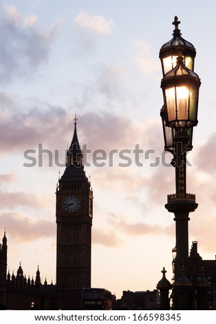 Big Ben silhouette at sunset
