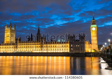 Big Ben, the Houses of Parliament and Westminster Bridge, night view, London