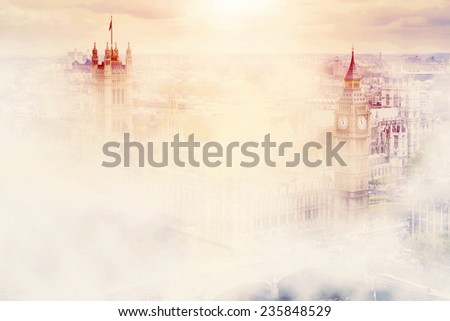 Big Ben, the Palace of Westminster in deep morning fog. London, the UK. - stock photo