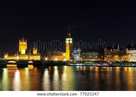 Big Ben Tower and Westminster Bridge at Thames River