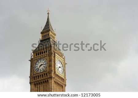 Big Ben, tower clock of the Houses of Parliament in London - stock photo