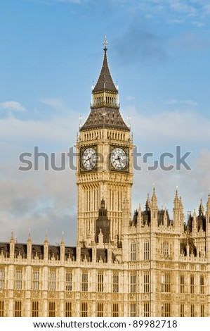 Big Ben tower clock on Houses of Parliament building at London, England - stock photo
