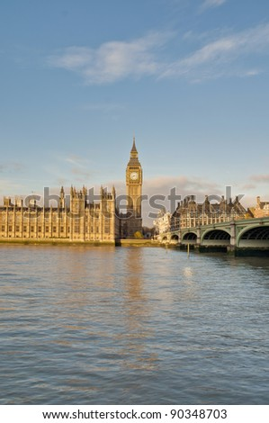 Big Ben tower clock on Houses of Parliament building at London, England