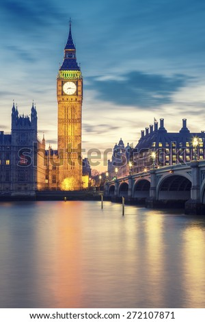 Big Ben tower in London at sunset, UK. - stock photo