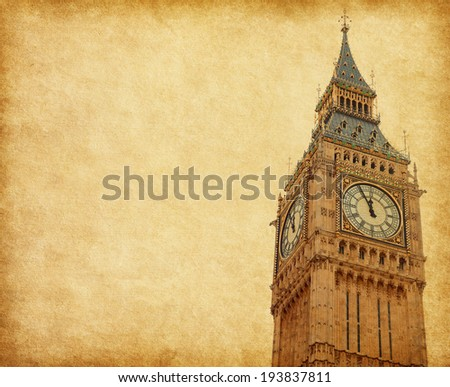 Big Ben - Upper portion of the tower, London,  Added paper texture - stock photo