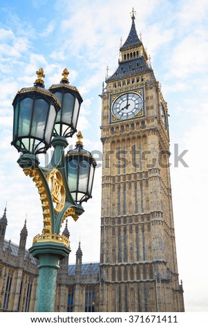 Big Ben view with ancient street lamp in London - stock photo