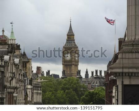 big ben views from Trafalgar Square - stock photo