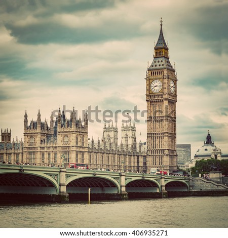 Big Ben, Westminster Bridge on River Thames in London, the UK. English symbol. Vintage, retro style - stock photo