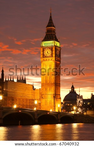 Big Ben, Westminster, London against bloody sunset