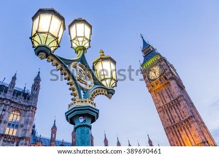Big Ben with antique street lamp  - stock photo