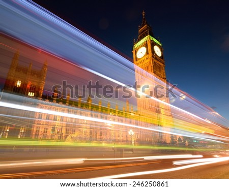 Big Ben with blurred traffic at sunset - stock photo