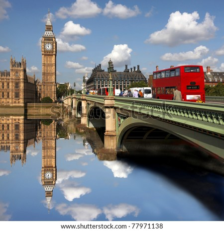 Big Ben with bridge, London, UK