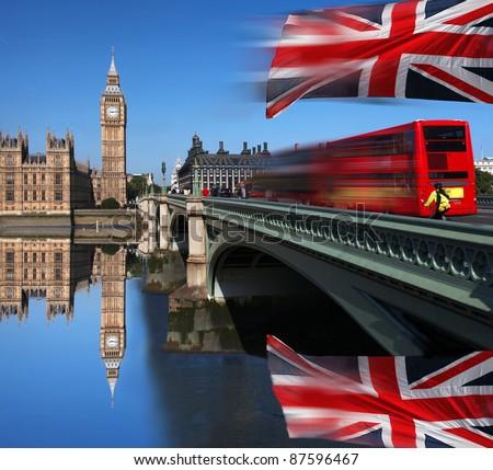 Big Ben with bridge, London, UK - stock photo