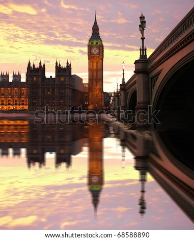 Big Ben with bridge, Westminster, London, UK - stock photo