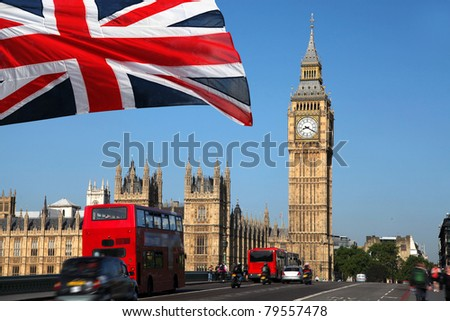 Big Ben with double decker, London, UK - stock photo