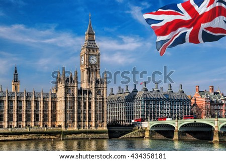Big Ben with flag of England in London, UK - stock photo