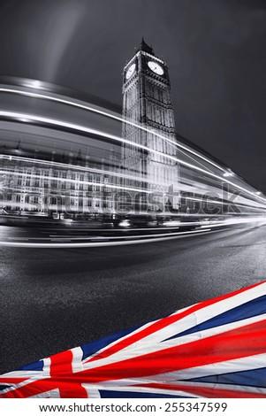 Big Ben with flag of England, London, UK - stock photo