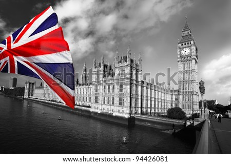 Big Ben with flag of England, London, UK - stock photo