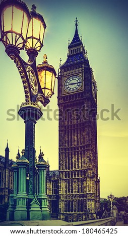 Big Ben with instagram style filters applied  - stock photo