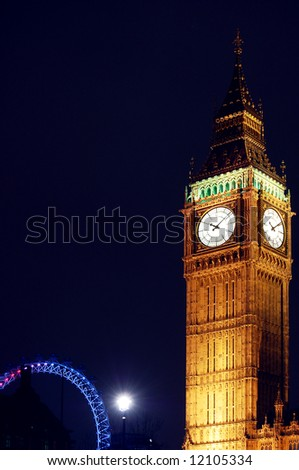 Big Ben with London Eye in background - stock photo