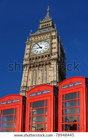 Big Ben with phone boxes, London, UK - stock photo