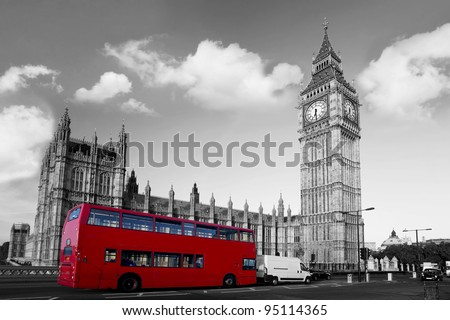 Big Ben  with red city bus in London, UK - stock photo