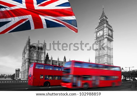 Big Ben with red double-decker in  London, UK - stock photo