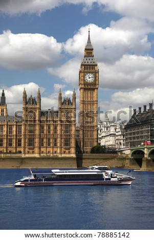 Big Ben with speed boat, London, UK - stock photo