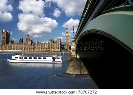 Big Ben with tourist boat, London, UK - stock photo