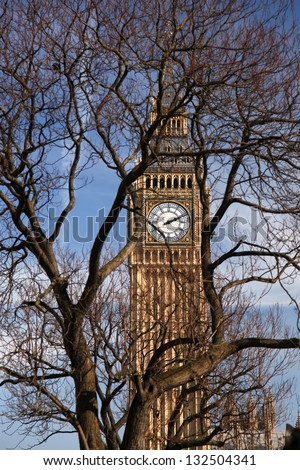 Big Ben with tree in London, England - stock photo