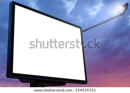 Big billboard at sunset with blank copy space - stock photo