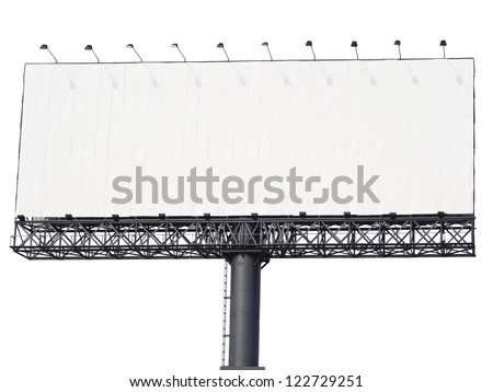 big billboard isolated on white background, put your text here - stock photo
