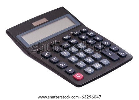 Big black calculator isolated on white background