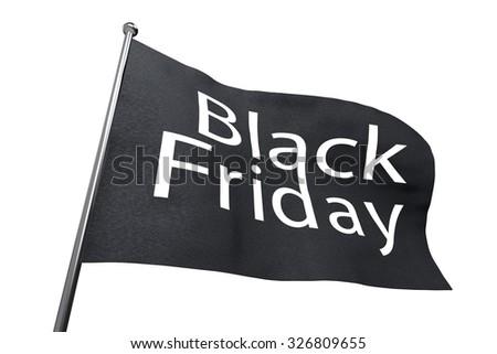 Big Black Friday waving flag isolated on white background. - stock photo