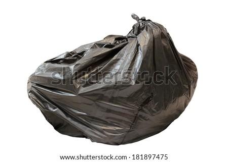 big black  garbage plastic  bag isolated over white background - stock photo