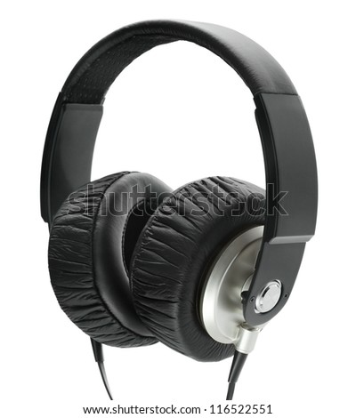Big black headphones, isolated over white