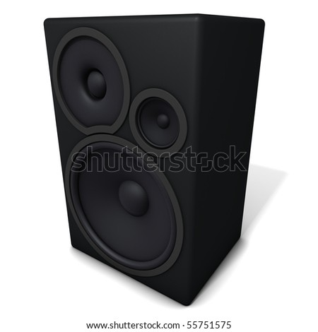 Big black speaker.  Three-dimensional,  isolated on white - stock photo