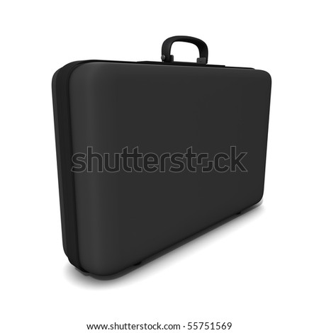 Big black suitcase.  Three-dimensional,  isolated on white