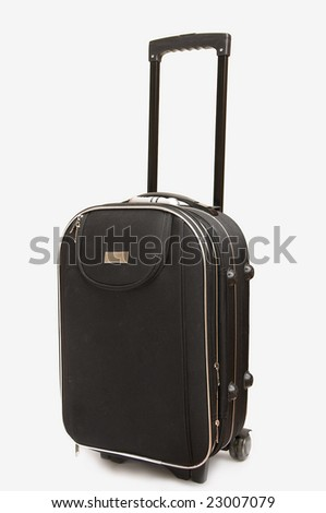 Big black travel bag (suitcase) with handle on white background