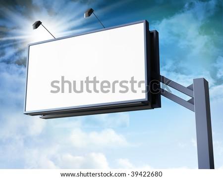 Big Blank Billboard - stock photo