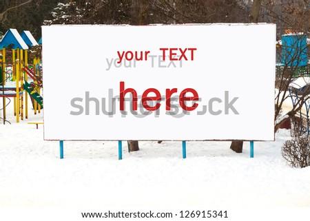 Big Blank Billboard in winter - stock photo