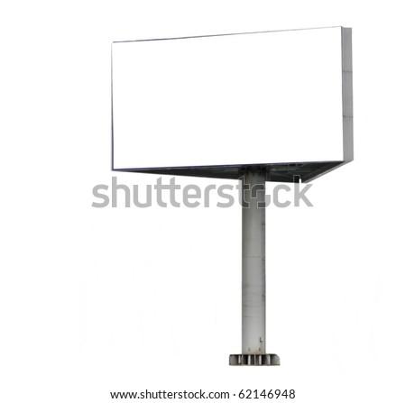 Big blank billboard isolated on white background - stock photo