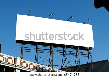 Big blank billboard on building, clipping path included - stock photo