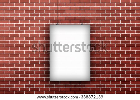 Big blank billboard poster template hanging on a rope in front of modern red brick wall background pattern texture.  - stock photo