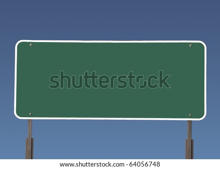 Big blank green highway road sign with gradient blue sky. - stock photo