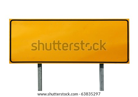 Big blank highway sign isolated on white. - stock photo
